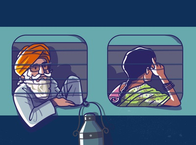 Railway chronicles - shot 4 satishgangaiah vector visual design creative simple people train travel india railway