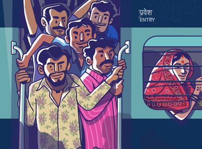 Railway chronicles - shot 5 branding indian satishgangaiah sale vector art symbol visual design vintage illustration illustrator vector rail entertainment color people door railway
