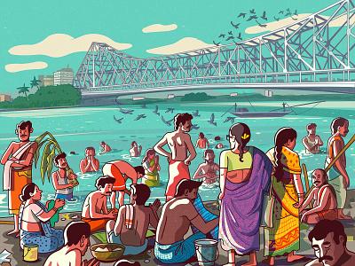 Howrah Bridge satishgangaiah design vector indian illustration illustrator india river ganga kolkata howrahbridge