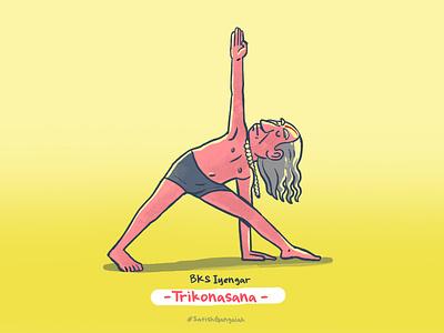 Yoga Day - BKS Iyengar yoga satishgangaiah india illustration