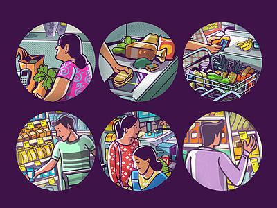 supermarket series boomblastdesign satishgangaiah branding illustration ill graphic design
