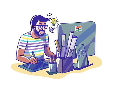 Entrepreneur of India - Designer indian design ui satishgangaiah expression vector india illustration designer