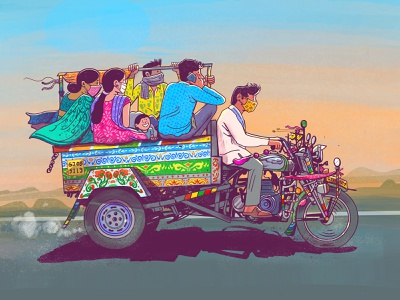 The Journey Begins Again! indian design expression vector satishgangaiah india illustration ill chakdarickshaw the journey begins again!