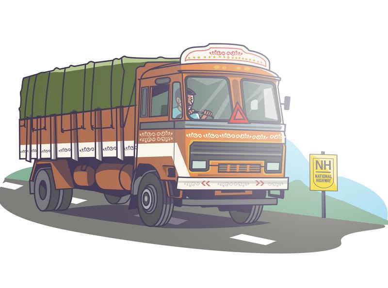 truck driver road indian farmer track art automobile bosch persona explainer video app india truck driver