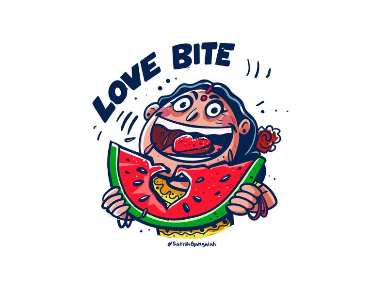 love bite boomblastdesign satishgangaiah uiux ui artist indiandesign style onlyindia happy emotional emoji chatstickers character india sticker