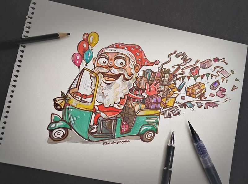 Santa Claus santa boomblastdesign satishgangaiah illustrator designer holidays designtable ink illustraion art gifts secretsanta india rickshaw auto christmas christmas greeting