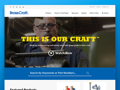 BrassCraft Redesign website homepage design plumbing parts