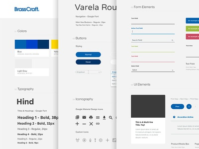 BrassCraft UI Style Guide user interface ui style guide icons manufacturing parts plumbing color palette branding brand elements