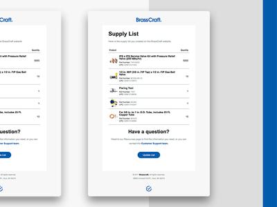 Brasscraft Supply List Email