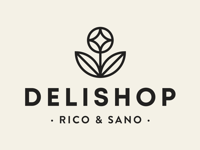 Delishop Branding - primary logo design delicious gluten free detox flower logo healthy vegan food shop branding