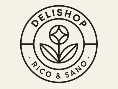 Delishop Branding - Secondary Logo healthy gluten free detox flower vegan food shop branding