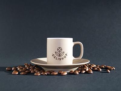 Delishop Branding - coffee cup healthy food shop coffee deli logo branding