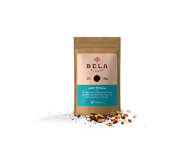 Chai Masala Pack - Bela Blends packaging packing pack design graphic breakfast cup masala chai food branding brand blend tea blends