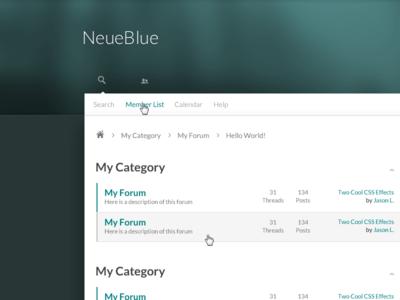 NeueBlue Preview clean blue white simple mybb forum theme