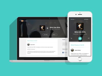 Media Player Web App web app flat blue clean modern mobile responsive media media player streaming radio