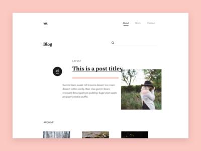 Asymmetric Blog Layout asymmetric typography blog minimal pink black white simple