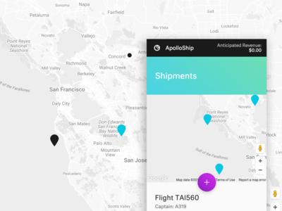 Apollo Ship Mobile maps google maps blue purple shipping flight modern