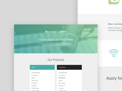 Abovecast/Stream Licensing Landing Page blue green minimal simple clean