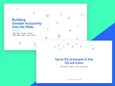 ElaConf Slide Design elaconf shapes brutalism brutalist slides typography blue green geometric trendy