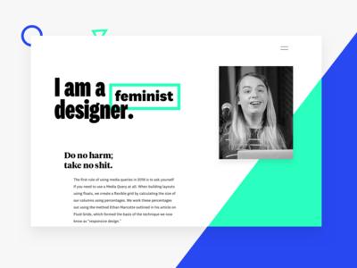 Portfolio WIP geometric modern typography blue green portfolio