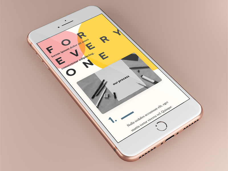 Design For Everyone modern responsive mobile small screen iphone pink yellow typography