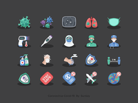 Coronavirus - Covid19 Icons stay stay safe lockdown x-ray social distancing globalwarming global hand lungs virus icon design icons icon icon set covid-19 covid19 covid
