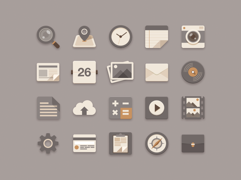 Flat Icons Brownie Theme document newspaper clock search play card setting song flat mail music compass checkin icon brown flat icon minimal zen free freebie psd sunbzy upload file note photo calendar camera calculator vdo