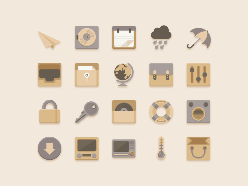 Flat Icons Vanilla Choc Chip Theme thermometer rocket paper record platter umbrella paperbag earth bag rain muji vanilla gray cream