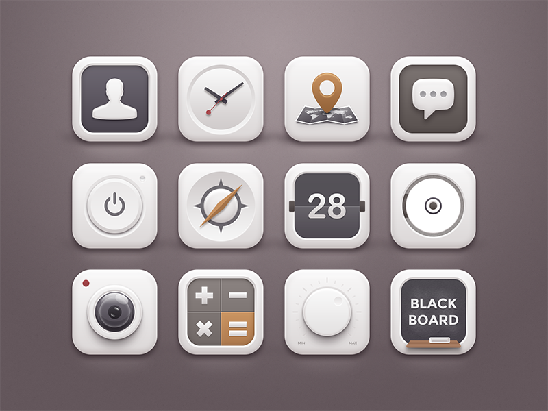White Winter Icons ui icons clean minimal smooth white winter volume blackboard button power soft