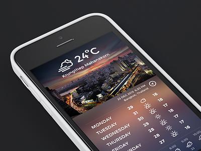 UI Weather ui weather landscape bangkok thailand krungthep mahanakorn app iphone5c white cold cool