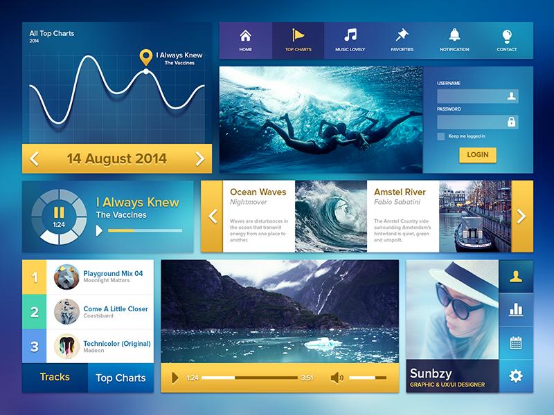 Ui Kit Ocean Blue sunbzy blue life ocean ui kit user interface music player graph profile top charts tools