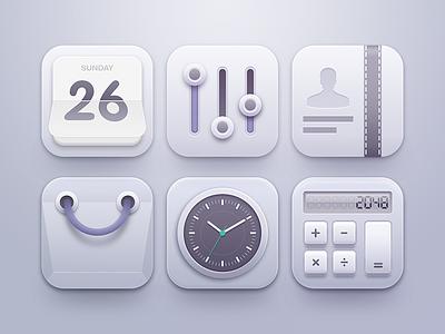 Clean Icons smooth minimal clean ui user interface icon paper bag clock volume diary calculator calendar