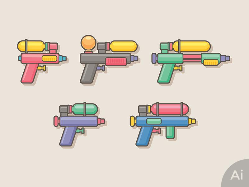 Water Gun water gun fresh splash sunbzy icon illustate toys kids colorful summer songkran