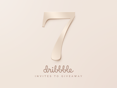 Dribbble Invites Giveaway minimal luxury rosegold gold hi-end cream illustration sunbzy giveaway invite invitation dribbble invites