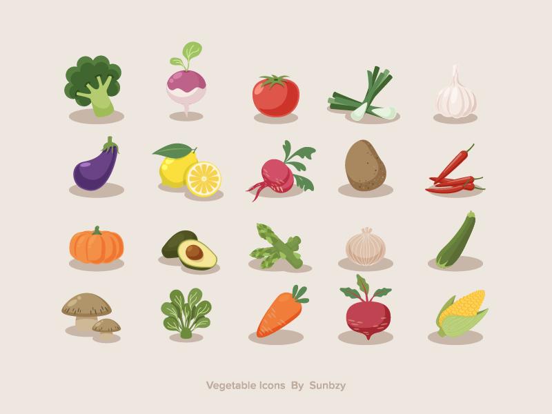 Vegetable Icons sunbzy zucchini turnip corn broccoli spinach tomato avocado fruit food healthy vegetable