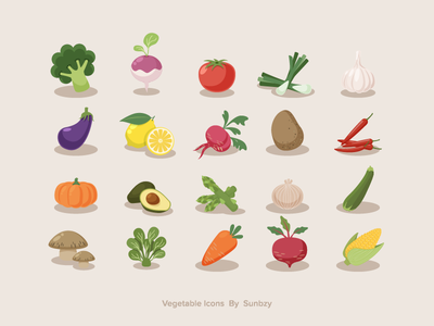 Vegetable Icons sunbzy zucchini turnip corn broccoli spinach tomato avocado fruit food healthy vegetable