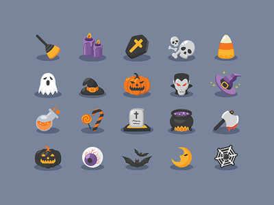 Halloween Icons freebie black orange poison blood axe magichat pumpkin dracula ghost horror halloween