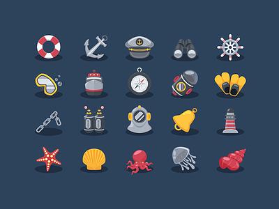 Sea Elements Icons icon oxygen dive ocean jellyfish anchor illustrator freebie free sailor marine seaman