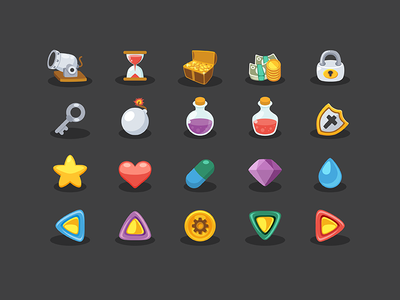 Basic Game Elements Icons energy key artillery poison coin money star bomb game icon freebie free
