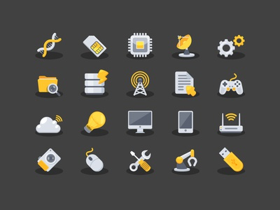 Yellow Techno Icons folder wireless setting cloud light wi-fi power radar technology dna icon yellow