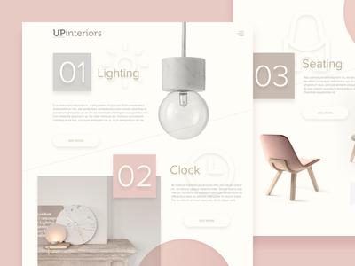 Upinteriors Webdesign minimal smooth pink uxui ux ui webdesign