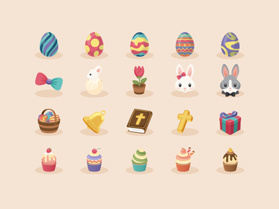 Easter Icons 2016 bible cross sunbzy icons gift cute cupcake rabbit ribbon egg flower easter