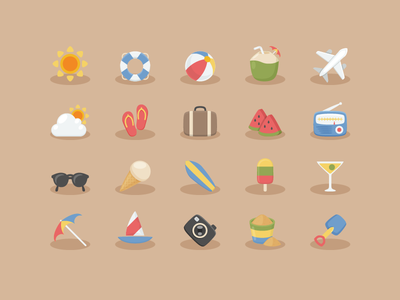 Vacation Time Icons radio watermelon boat icecream summer vacation glasses lomo plane coconut beach sunny
