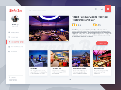 Dashboard Restaurant web minimal rooftop ux ui ux design ui design web design findfood food bar restaurant dashboard