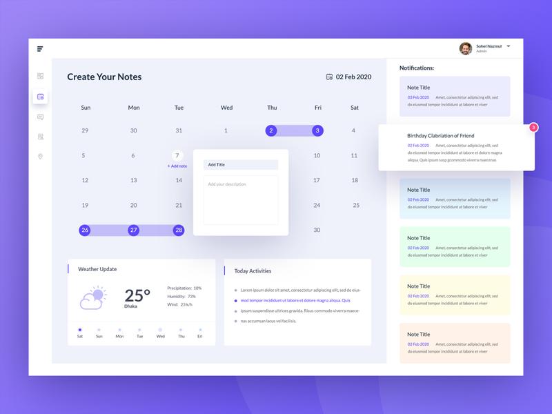 NoteTime Dashboard Design -  Calendar banner calendar design icon time web app dashboard admin calendar ui illustration template ux