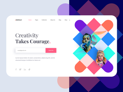 Online Art Gallery Landing Page creative web app colorful clean ui template vector illustration gallery art