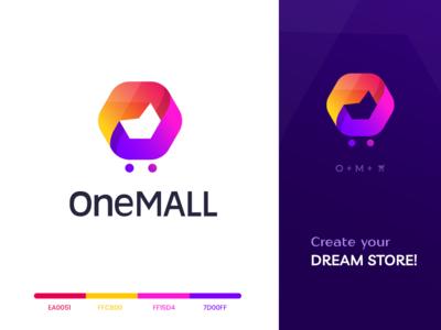 OneMall eCommerce Logo Design webdesign app creative vector illustrator illustration branding