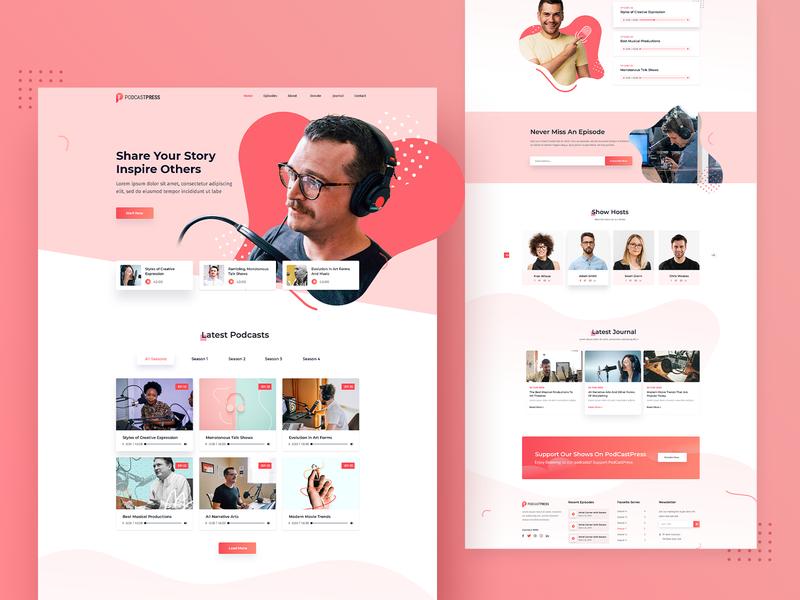 PodcastPress Podcasting Landing page agency typography branding creative app design illustration ui ux template