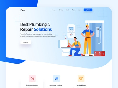 Fixxe - Plumber Website Template template design illustration services app website air conditioning heating maintenance electrician cooling repair plumbing plumber