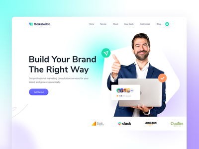 MarketerPro - Personal Marketer Website Template personal prototype product website popular 2021 trend illustration landing page app web minimal typography creative template ux resume cv portfolio seo marketer